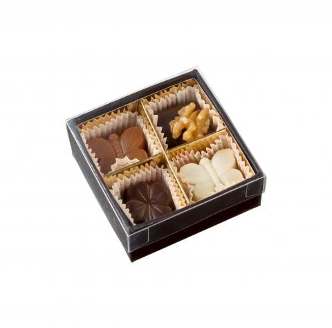 Transparent Square Box - 4 pralines